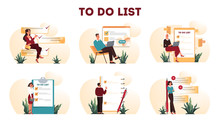 Businesspeople With A Long To Do List. Big Task Document.