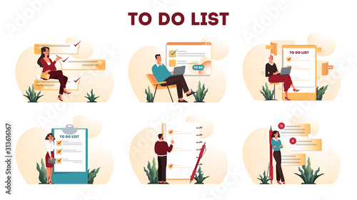 Fototapeta Businesspeople with a long to do list. Big task document. obraz
