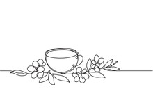 Cup Of Tea And Flowers. Continuous Line Drawing. Sketch. Herb Tea. Healing Drink
