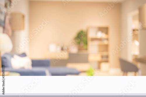 Obraz Abstract blur living room interior for background. - fototapety do salonu