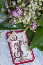 Fathers Day Congratulation Presents. Postcard With Motorbike And Bouquet Of Flowers.