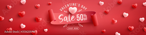 Photo Valentine's Day Sale 50% off Poster or banner with sweet hearts and on red background