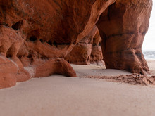 Landscape With Sandstone Cliff Fragments On Blurred Background