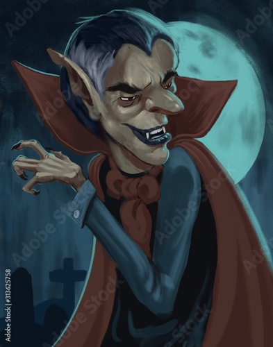 Colorful stylized cartoon painting of an undead vampire character bathed in moon light at night - digital fantasy illustration Wall mural