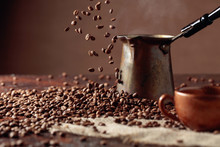 Falling Coffee Beans And Old C...
