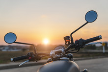 Nan Thailand. Jan 4,2020 TRIUMPH STREET TWIN900.the Line At The Road With Sunset.on The Road Riding.copyspace For Your Individual Text.