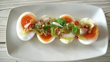 Soft Boiled Eggs Spicy Salad