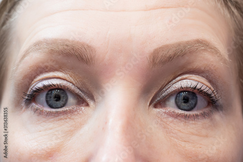 Photo facial features of an aging adult white woman