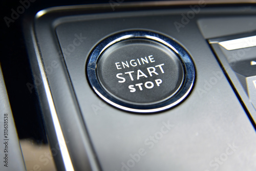 Car engine start and stop button Canvas Print