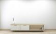 Smart Tv led on cabinet design, Minimal room white wall background. 3D rendering