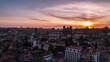 Sunset Establishing Aerial Bird Eye View Shot of Porto, City Skyline, Oporto, Monastry of Saint Bento, Ferreira Borges, Portugal tracking shot
