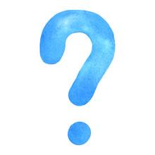 Question Mark. Handwritten Blu...