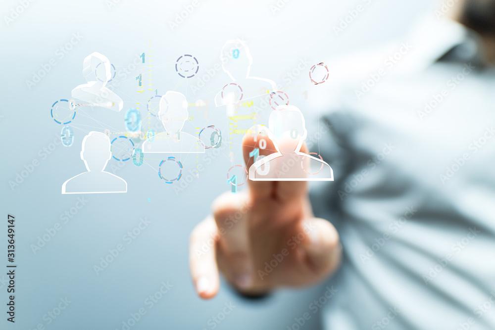 Fototapeta Network team. Social network. 3d illustration