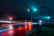 Traffic Lights In The City At Night