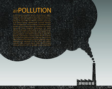 Air Pollution Grunge Background Template. Industrial Chimney Smoke Cloud Template. Toxic CO2 Dioxide Exhaust. Global Warming Vector Illustration Image.