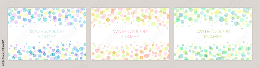 Fototapeta Set of colorful vector watercolor backgrounds with white space for text. Set of cards for wedding, greetings, birthday. backgrounds for web banners design.