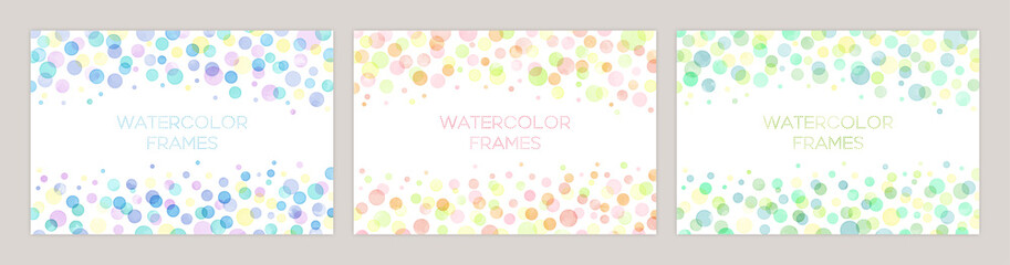 Set of colorful vector watercolor backgrounds with white space for text. Set of cards for wedding, greetings, birthday. backgrounds for web banners design.