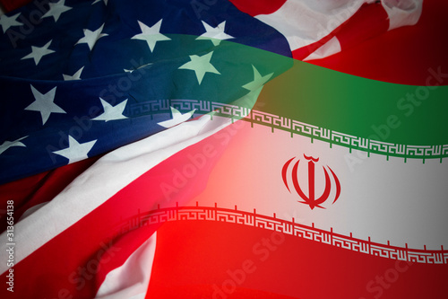Obraz world war 3 of america vs iran flag battle, crisis economy of soldier army, muslim conflict fighting for religion - fototapety do salonu