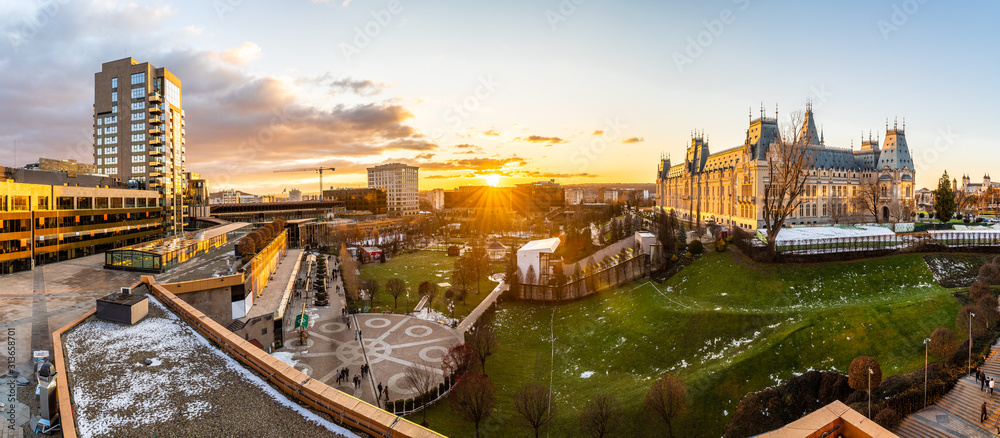 Fototapeta Panoramic view of Cultural Palace and central square in Iasi city, Romania