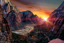 The View Of Zion National Park From Angel's Landing Hiking Trail In Springdale, Utah, USA At Sunset.