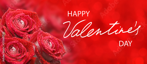 happy valentines day with beautiful festive flowers on colorful background #313661748