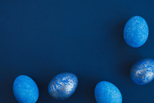 Blue Easter Eggs Painted By Hand On A Dark Background. Easter Stylish Minimal Composition. Top View, Flat Lay, Copy Space