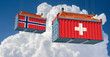 Freight container with Norway and Switzerland flag. 3D Rendering