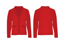 Red Woolen Cardigan. Vector Illustration
