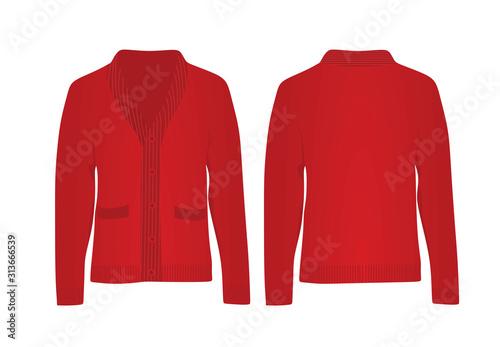 Cuadros en Lienzo Red woolen cardigan. vector illustration