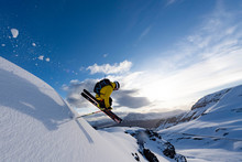 Male Extreme Skier Flying Thro...