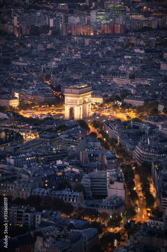 arc de triomphe in paris seen from the Eiffel tower after sunswet - 313668119