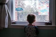 A Little Boy Looks Out A Windo...