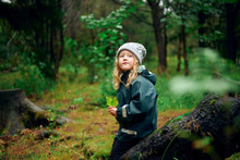 Small Girl In Hat And Jacket S...
