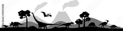 Fotografie, Obraz Dinosaur Vector Outline Landscape Skyline