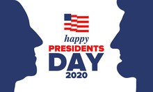 Happy Presidents Day In United States. Washington's Birthday. Federal Holiday In America. Celebrated In February. Patriotic American Elements. Poster, Banner And Background. Vector Illustration