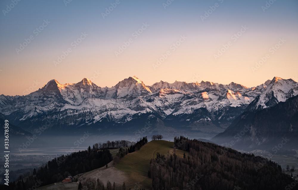 Fototapeta impressive mountains of the swiss alps - eiger, mönch, jungfrau