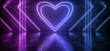 canvas print picture Neon Glowing Sci Fi Future Purple Blue Red Valentine Heart Shape On Brick Wall Club Dance Night Tunnel Corridor Warehouse Garage Cyber Virtual 3D Rendering