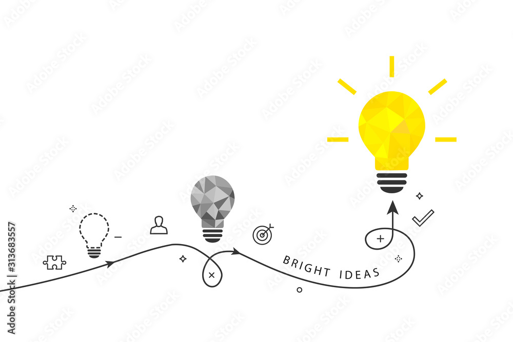 Fototapeta Bright ideas and innovation concept with shining light bulb and process route isolated on white background