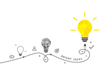 Bright Ideas And Innovation Concept With Shining Light Bulb And Process Route Isolated On White Background