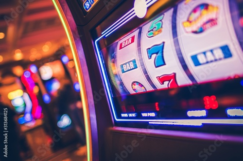 Slot Machine Rolling Drums Wallpaper Mural