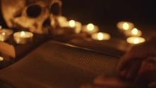 Altar With Magical Grimoire Closeup Photo