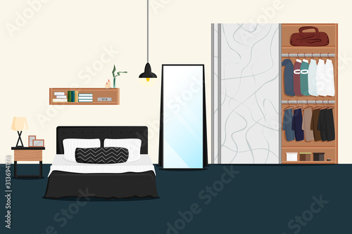 Vector Flat Illustration Of Male Bedroom Interior With Wardrobe Cozy Modern Living Room With Double Bed Table Lamp Mirror Closet Classic Concept Design Of Men S Or Couple Bedroom With Furniture Buy