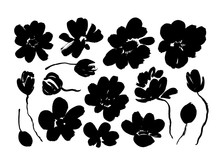 Spring Flowers Hand Drawn Vector Set. Black Brush Flower Silhouettes. Roses, Peonies, Chrysanthemums Isolated Cliparts.
