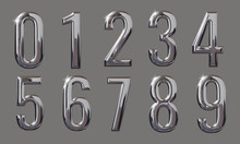 Set Of 3D Numbers With Glossy Metal Texture (chrome, Steel, Silver) Isolated On Gray Background, Premium Bold Font Design For Poster, Banner, Invitation