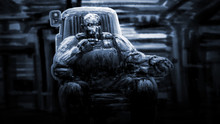 Captain Of Spaceship Sits In Control Chair And Smokes Cigarette, Blowing Smoke.