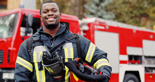 Firefighter Portrait On Duty. ...