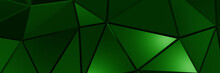 3d ILLUSTRATION, Of Green Abstract Crystal Background, Triangular Texture, Wide Panoramic For Wallpaper, 3d Black Background Low Poly Design