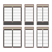 Collection Of Different Commercial Refrigerators For Stores And Supermarket. Empty Fridges With Shelves Inside And Glass Doors For Cooling Drinks In Shops. Isolated Vector Illustration.