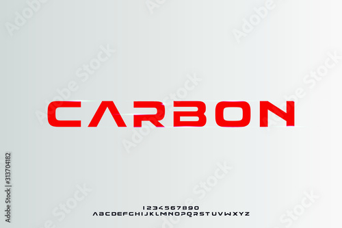 Carbon, a bold modern sporty typography alphabet font Wallpaper Mural