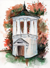 Watercolor Sketch Of A White G...